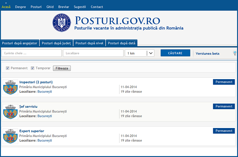 Job openings in the Romanian public sector