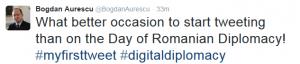 First Tweet_Romanian Foreign Minister